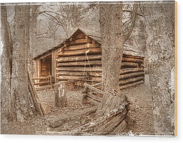 Old Mill Work Cabin Wood Print by Dan Stone