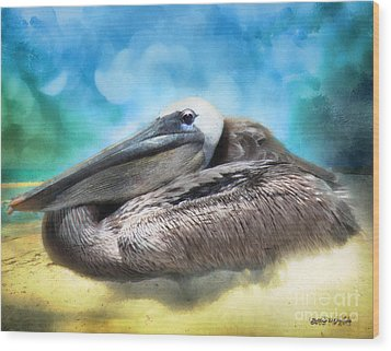 Wood Print featuring the digital art Old Mr. Pelican by Rhonda Strickland