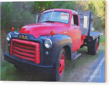 Old Nostalgic American Gmc Flatbed Truck . 7d9821 . Photo Art Wood Print by Wingsdomain Art and Photography