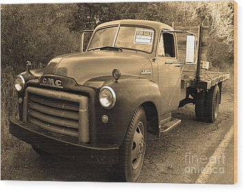 Old Nostalgic American Gmc Flatbed Truck . 7d9821 . Sepia Wood Print by Wingsdomain Art and Photography