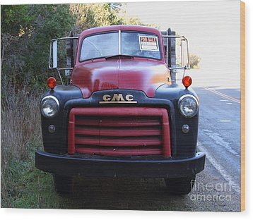 Old Nostalgic American Gmc Flatbed Truck . 7d9823 Wood Print by Wingsdomain Art and Photography