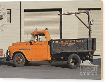 Old Orange American Chevy Chevrolet 3600 Truck . 7d12735 Wood Print by Wingsdomain Art and Photography