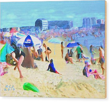 Wood Print featuring the digital art Old Orchard Beach by Richard Stevens