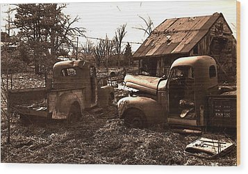 'old Pickup Trucks' Wood Print by Michael Lang