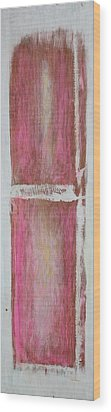 Old Pink Kitchen Door Emanating Light Wood Print by Asha Carolyn Young