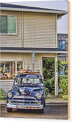 Old Plymouth And Surfboard Wood Print by Carol Leigh