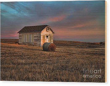 Old Prairie School At Sunrise Wood Print by Edward R Wisell