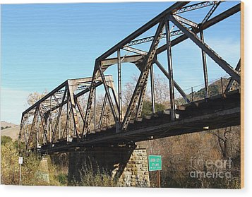 Old Railroad Bridge At Union City Limits Near Historic Niles District In California . 7d10736 Wood Print by Wingsdomain Art and Photography
