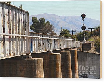 Old Railroad Bridge In Fremont California Near Historic Niles District In California . 7d12669 Wood Print by Wingsdomain Art and Photography