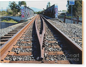 Old Railroad Bridge In Fremont California Near Historic Niles District In California . 7d12678 Wood Print by Wingsdomain Art and Photography