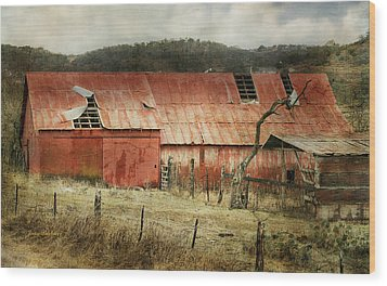 Wood Print featuring the photograph Old Red Barn by Joan Bertucci