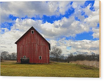 Old Red Barn Wood Print by Steven Jones