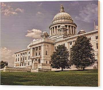 Old Rhode Island State House Wood Print by Lourry Legarde