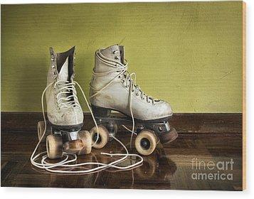 Old Roller-skates Wood Print by Carlos Caetano