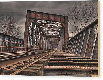 Old Rusty Bridge Wood Print by Darren Landis