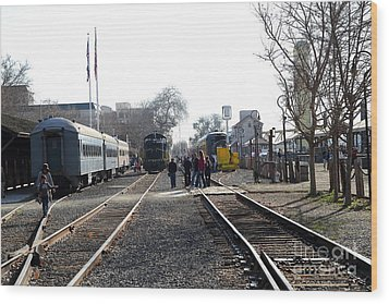 Old Sacramento Train Station Depot . 7d11635 Wood Print by Wingsdomain Art and Photography