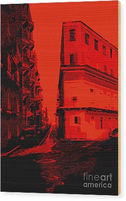 Old San Juan In Red And Black Wood Print by Ann Powell