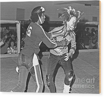 Wood Print featuring the photograph Old School Roller Derby And The Slap Heard Round The World by Jim Fitzpatrick