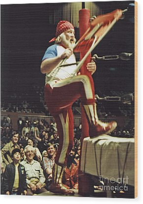 Wood Print featuring the photograph Old School Wrestling From The Cow Palace With Moondog Mayne by Jim Fitzpatrick