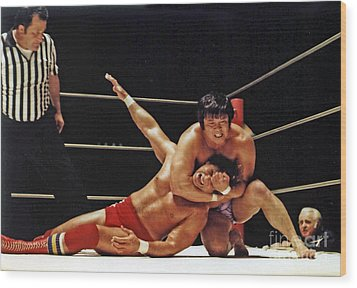 Wood Print featuring the photograph Old School Wrestling Headlock By Dean Ho On Don Muraco by Jim Fitzpatrick