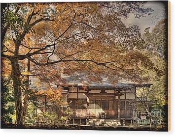 Old Shrine In Autum Wood Print by Tad Kanazaki