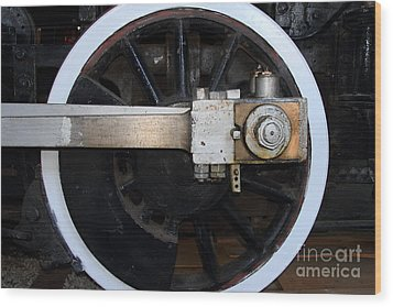 Old Steam Locomotive Engine 5 . The Little Buttercup . Train Wheel . 7d12916 Wood Print by Wingsdomain Art and Photography