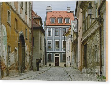Wood Print featuring the photograph Old Street In Bratislava by Les Palenik