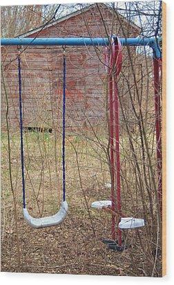Old Swing Set-2 Wood Print by Todd Sherlock