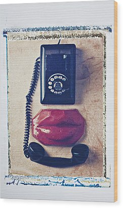 Old Telephone And Red Lips Wood Print by Garry Gay