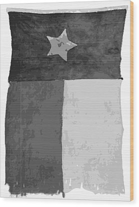 Old Texas Flag Bw10 Wood Print