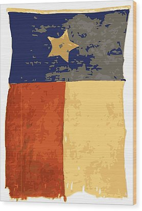 Old Texas Flag Color 16 Wood Print by Scott Kelley