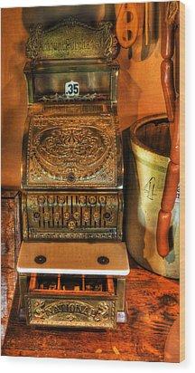 Old Time Cash Register - General Store - Vintage - Nostalgia  Wood Print by Lee Dos Santos