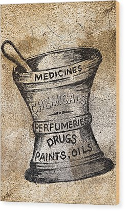 Old Time Medicine Ad Wood Print by Wendy White