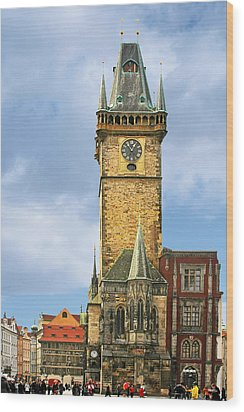 Old Town Hall Prague Cz Wood Print by Christine Till