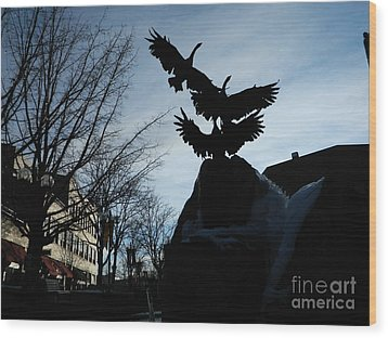 Old Town Silhouette  Wood Print by Sara  Mayer