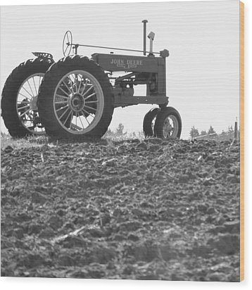 Old Tractor II In Black-and-white Wood Print