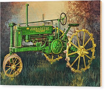 Wood Print featuring the digital art Old Tractor by Mary Almond