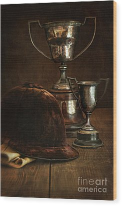 Old Trophies With Equestrian Riding Hat Wood Print by Sandra Cunningham
