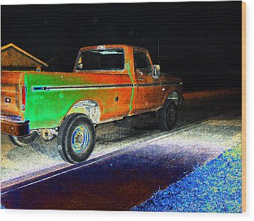 Old Truck At Night Wood Print