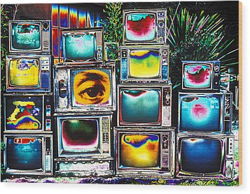 Old Tv's Abstract Wood Print by Garry Gay