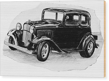 Old Vintage Funny Car Wood Print