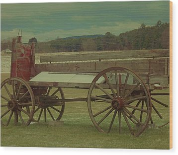 Old Wagon Fruit Stand Wood Print by Becca J