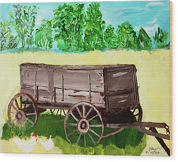 Old Wagon Wood Print by Swabby Soileau
