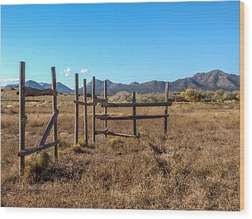 Old West Corral Wood Print by Ralph Brannan
