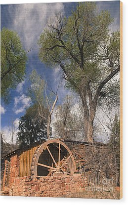Old West Water Mill 1 Wood Print by Darcy Michaelchuk