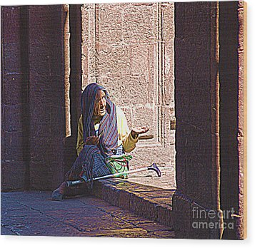 Wood Print featuring the digital art Old Woman In Centro by John  Kolenberg