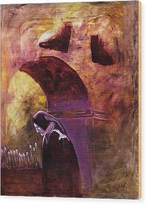 Wood Print featuring the painting Old Woman Lighting Candles In Cathedral In Purple And Yellow  by MendyZ M Zimmerman
