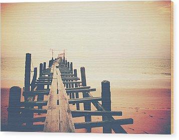 Old Wood Bridge To The Sea Wood Print by Wanchai Yoosumran