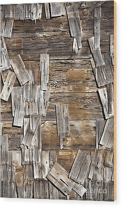 Old Wood Shingles On Building, Mendocino, California, Ca Wood Print by Paul Edmondson
