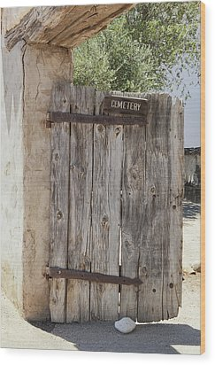Old Wooden Cemetery Gate In The Adobe Wood Print by Douglas Orton